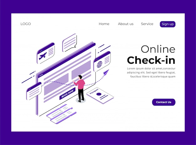 Isometrische landing page der online-check-in-konzept-premium-vorlage