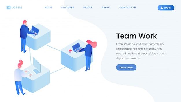 Isometrische landing page der teamarbeit der kollegen