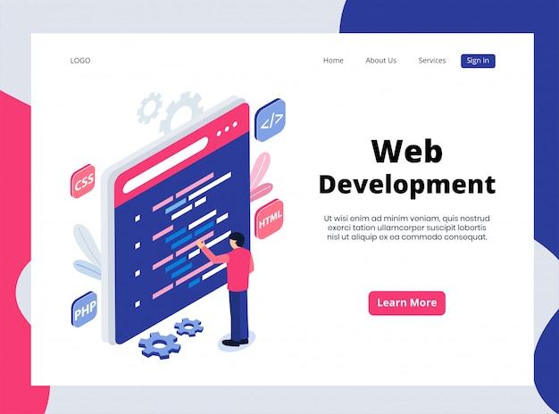 Isometrische landing page der webentwicklung