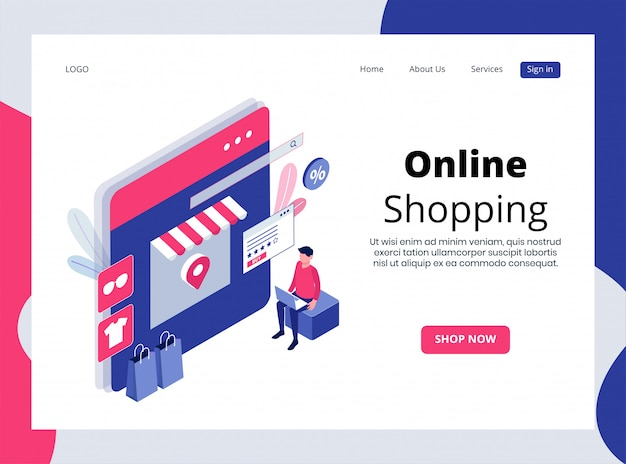 Isometrische landing page des online-shoppings