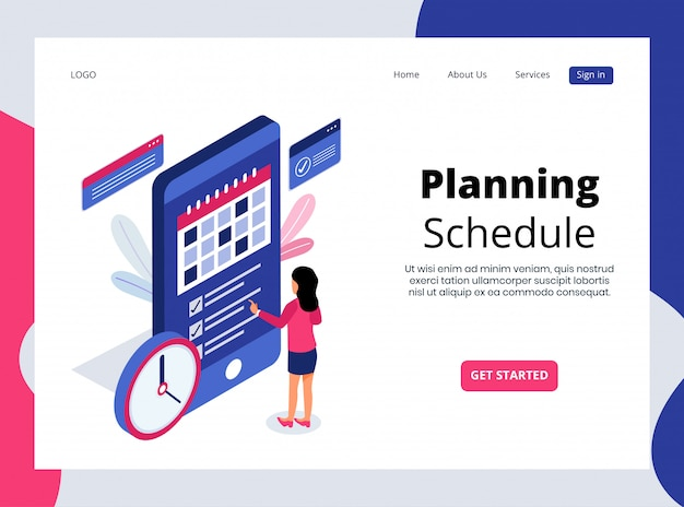 Isometrische landing page des planungsplans
