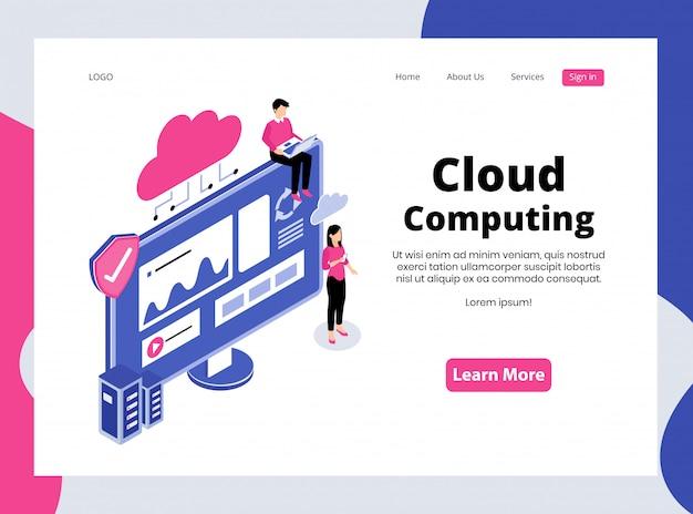 Isometrische landing page von cloud computing