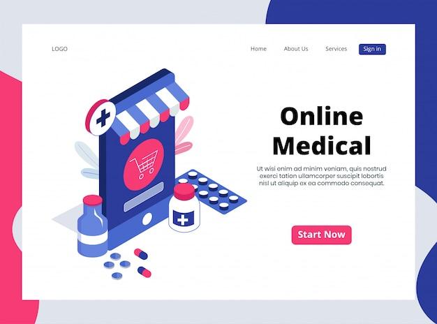 Isometrische landing page von online medical