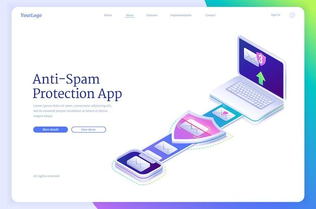 Isometrische landingpage der anti-spam-schutz-app mit laptop und umschlägen spyware cyber security antivirus-anwendung