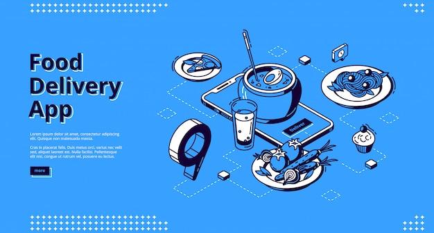 Isometrische landingpage der food delivery app