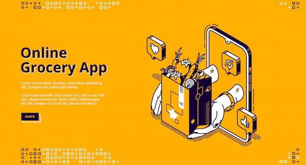 Isometrische landingpage der online-lebensmittel-app,