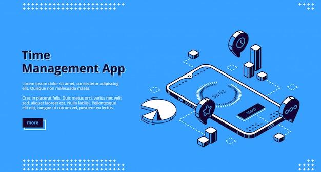 Isometrische landingpage der zeitmanagement-app, banner