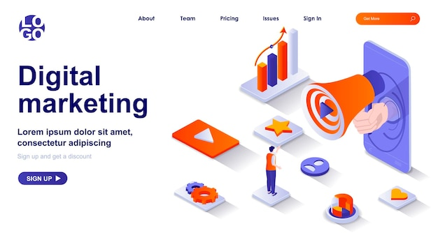 Isometrische landingpage des digitalen marketings 3d mit personenzeichen