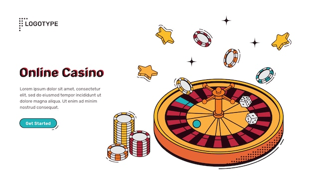 Isometrische landingpage des online-casinos, web-banner