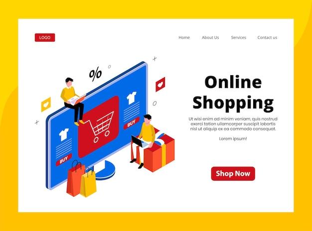 Isometrische landingpage des online-shoppings
