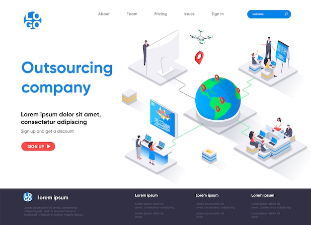 Isometrische landingpage des outsourcing-unternehmens
