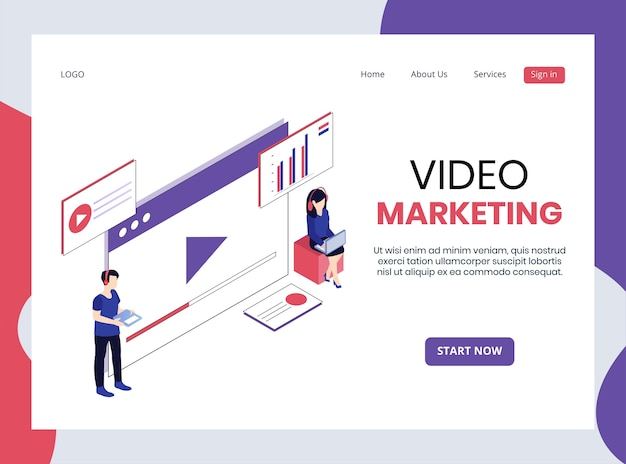 Isometrische landingpage des videomarketings