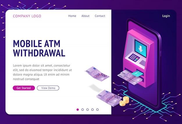 Isometrische landingpage für die entnahme mobiler geldautomaten