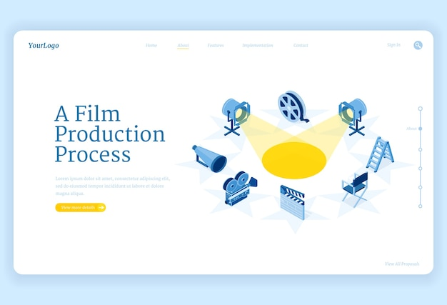 Isometrische landingpage für die filmproduktion, filmherstellungsprozess und kamera, scheinwerfer