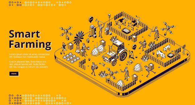 Isometrische landingpage für intelligente landwirtschaft mit robotern und menschen, die auf farm oder feld arbeiten, cyborgs, die vieh füttern, ernten. automatisierte dorflandwirtschaft, tierhaltung 3d strichzeichnungen web-banner