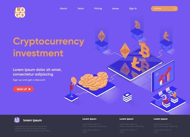 Isometrische landingpage-illustration der kryptowährungsinvestition 3d mit personenzeichen