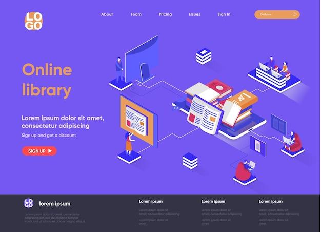 Isometrische landingpage-illustration der online-bibliothek 3d mit personenzeichen