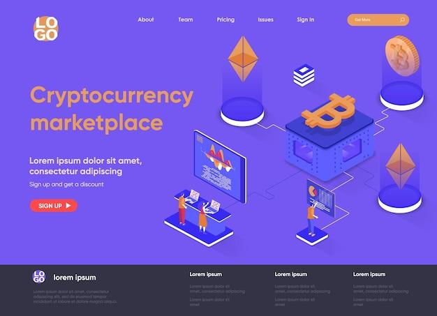 Isometrische landingpage-illustration des kryptowährungsmarktplatzes 3d mit personenzeichen
