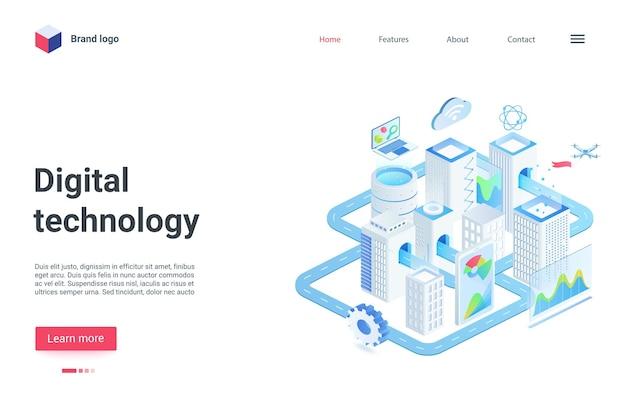 Isometrische landingpage-intelligente infrastruktur der modernen stadt der zukunft der digitalen technologie