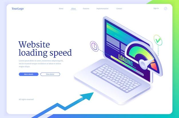Isometrische landingpage mit ladegeschwindigkeit der website