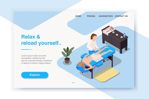 Isometrische landingpage oder website-layout für massagetherapie
