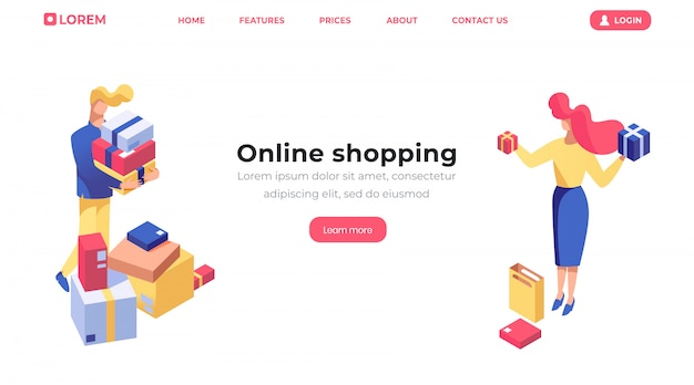 Isometrische landingpage-vorlage für online-shopping