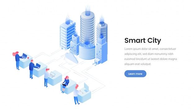 Isometrische landingpage-vorlage für smart city