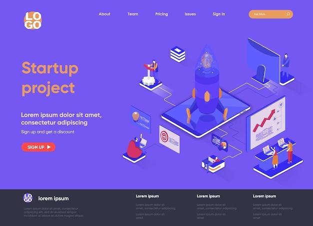 Isometrische landingpage-website-illustration des startprojekts 3d mit personencharakteren