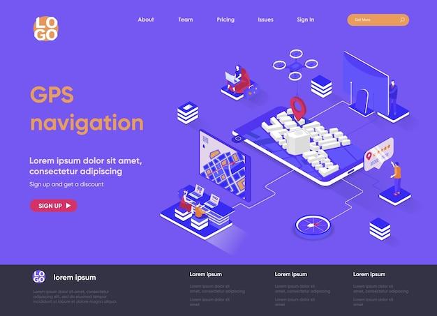 Isometrische landingpage-websiteillustration der gps-navigation 3d mit personenzeichen