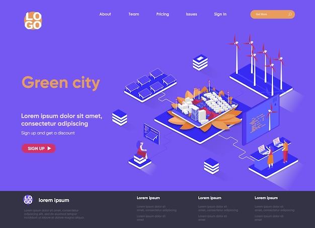 Isometrische landingpage-websiteillustration der grünen stadt 3d mit personencharakteren