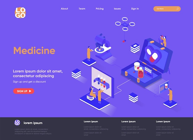 Isometrische landingpage-websiteillustration der medizin 3d mit personencharakteren