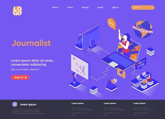 Isometrische landingpage-websiteillustration des journalisten 3d mit personencharakteren