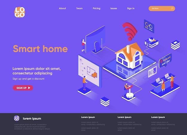 Isometrische landingpage-websiteillustration des smart home 3d mit personencharakteren