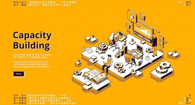 Isometrische landingpage zum kapazitätsaufbau.