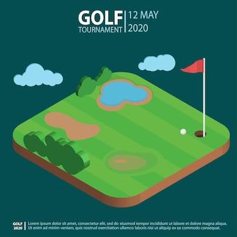 Isometrische landschaft des golfplatzes, loch mit flagge und ball. golfclub sport.