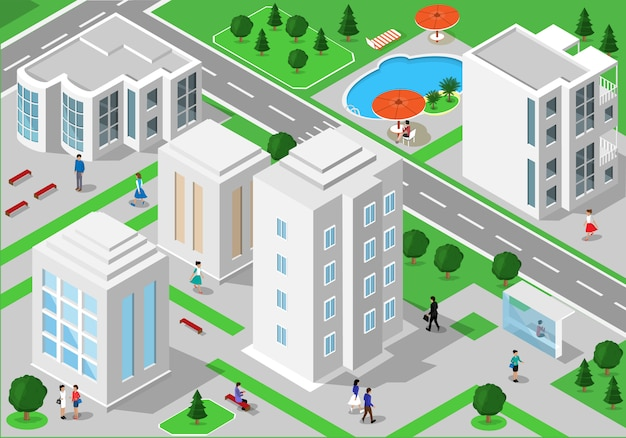 Isometrische landschaft mit menschen, stadtgebäuden, straßen, parks, hotels und schwimmbad. reihe von detaillierten stadtgebäuden. 3d isometrische menschen