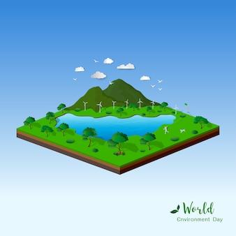 Isometrische landschaft mit natur und umweltfreundlich