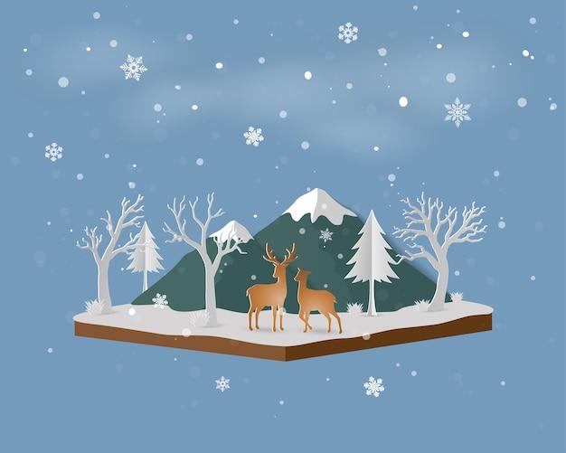 Isometrische landschaft mit rotwild im winter