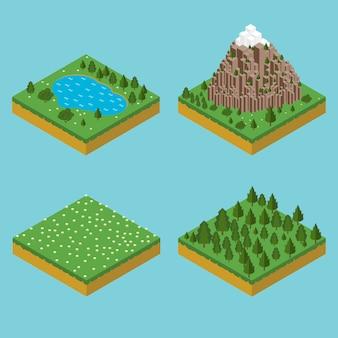 Isometrische landschaftssäume. vormontage isometrisch