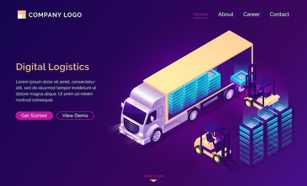 Isometrische landung der digitalen logistik, datenlieferung