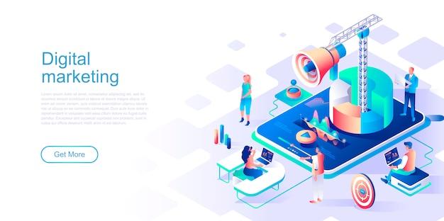 Isometrische landungseiten-vektorschablone des digital-marketings.