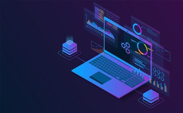 Isometrische laptop-analyseinformationen verbinden sich mit der futuristischen konzeptdarstellung des servers
