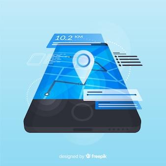Isometrische laufende mobile app infografik