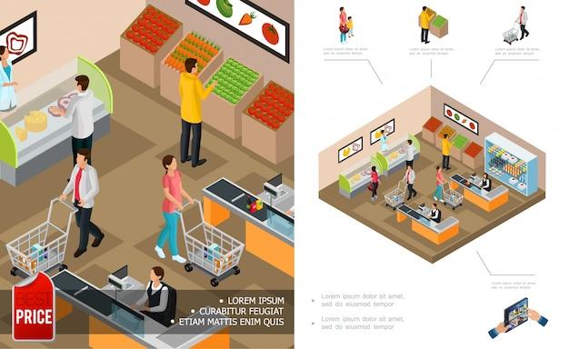 Isometrische lebensmitteleinkaufszusammensetzung mit kassiererkunden, die karren schieben und verschiedene produkte kaufen