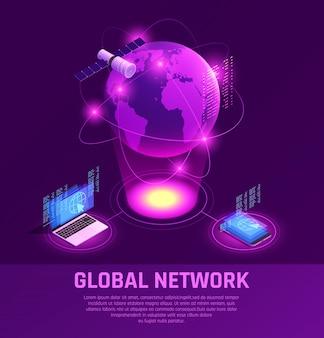 Isometrische leuchtende zusammensetzung des globalen netzwerks mit mobilgeräten und satelliten-internet auf lila
