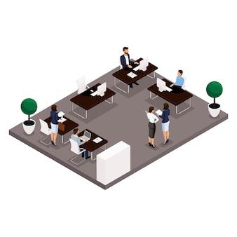 Isometrische leute der tendenz, konzept, ein büro hintere ansicht eines großen büroraumes, der arbeit, der büroangestellten, der geschäftsmänner und der geschäftsfrau in den klagen