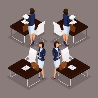 Isometrische leute der tendenz stellen ein, die dame des geschäfts 3d, die an einem schreibtisch auf einer vorderansicht des laptops, hintere ansicht, stilvolle frisur, büroangestelltmann in einer klage lokalisiert arbeitet. vektorzeichnungen