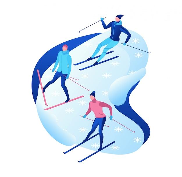 Isometrische leute des skifahrens eingestellt, ector 3d skifahrer