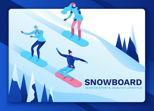 Isometrische leute des snowboard eingestellt auf landungseite