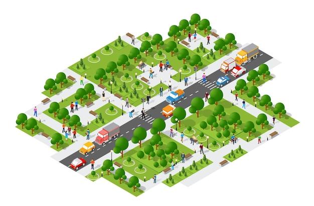 Isometrische leute, die lebensstil gehen, der in der städtischen umgebung in einem park mit bänken und bäumen, straße mit autos sozialisiert